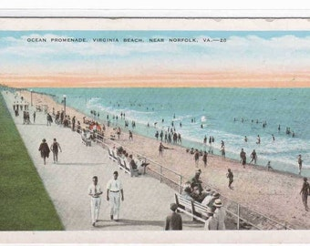 Ocean Promenade Virginia Beach Norfolk VA 1930s postcard