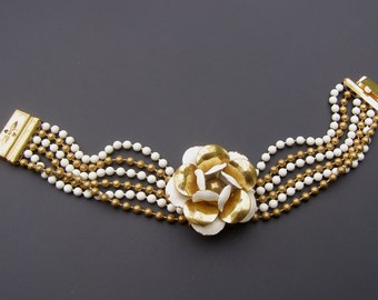 Vintage Art Deco Bracelet Brass Bead Ball Multi Strand White Eamel Flower Bracelet