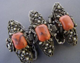 Vintage Faux Coral Bracelet, Big Bold Chunky Bracelet, Wide Vintage Bracelet, Vintage Faux pearl Bracelet