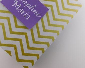 Baby book Gold Chevron girl baby memory book personalized baby shower book pregnancy journal Keepsake album