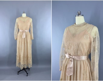 Vintage 1970s Lace Dress / 70s Maxi Dress / Lace Illusion Gold Embroidery / Edwardian / Boho Hippie Wedding Dress / Dan Lee Couture /