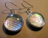 Rays of Light- Sterling Silver Dichroic glass earrings