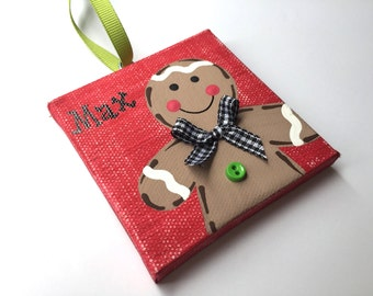 Personalized Hand Painted Gingerbread boy ornament