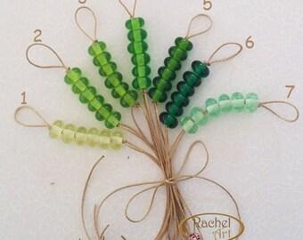 Lampwork Glass Donuts Beads, Transparent Green Glass Round Spacers Beads - Rachelcartglass