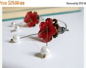 ON SALE Earrings Jewelry Gorgeous Flower Dangle OOAK Red For Her Handmade Upcycled Bead Antiqued Brass Lucite