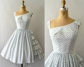 RESERVED LISTING -- 1950s Vintage Dress - 50s Ruffled Polkadot Cotton Sundress