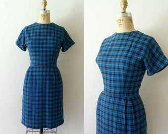 Vintage 1950s Dress - 50s Blue Plaid Wiggle Dress