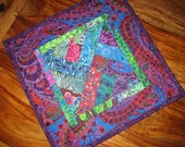 Quilted Table Topper, Paisley Blue Purple Pink Green Kaffe Fassett, Square Table Topper, Batik Paisley Table Mat, Bright Bold Colors