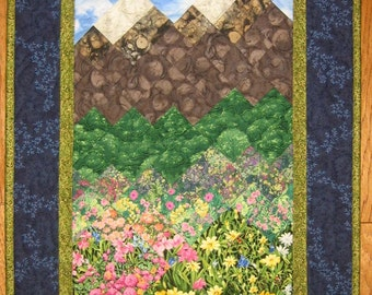 Tahoe Mountain Flowers Fabric Wall Hanging, Art Quilt, Textile Art, Lake Tahoe Art, Flowers Mountains, Tahoequilts, Quiltsy Handmade