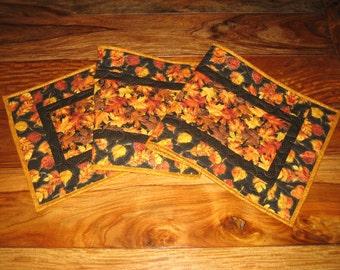 Fall Table Runner, Autumn Orange Yellow Gold Leaves, Quilted Table Runner, Christmas Pine Cone Runner,  Autumn Runner Reversible Handmade