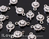 SALE / 10pcs / NP-1713 Rhodium Plated, Cubic zirconia, 6mm Round Connector