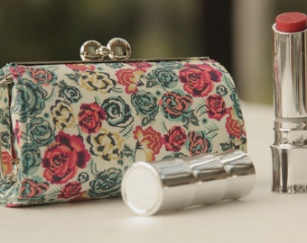 NEW Lipstick Case/ Lipbalm case/ silver metal frame/ Liberty cotton/pink red turquoise small roses.