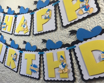 Donald Duck Personalized Banner/ cake topper/ paper straws/ cupcake toppers/ center piece/ welcome sign/ and more.
