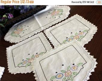 Dresser Doilies Set of Linen Embroidered Duchess Doilies Crocheted Edging DAMAGED 13442