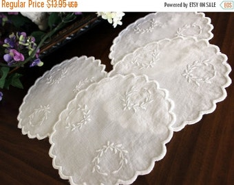 Doily Set, 4 Embroidered Rounds, White Embroidery, White Linen Doilies 13558