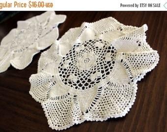 Crochet Doilies, 2 Similar Hand Made Doilies in Light Ecru, Handmade Crocheted Doilies 13671