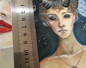 Faun Boy, original illustration, original art, kim turner art, australian artist, fantasy art, mythic art