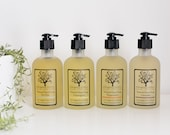 Liquid Soap in a Glass Pump - Made with Organic Essential Oils - Lavender, Lemongrass or Peppermint - Handcrafted - 8 oz