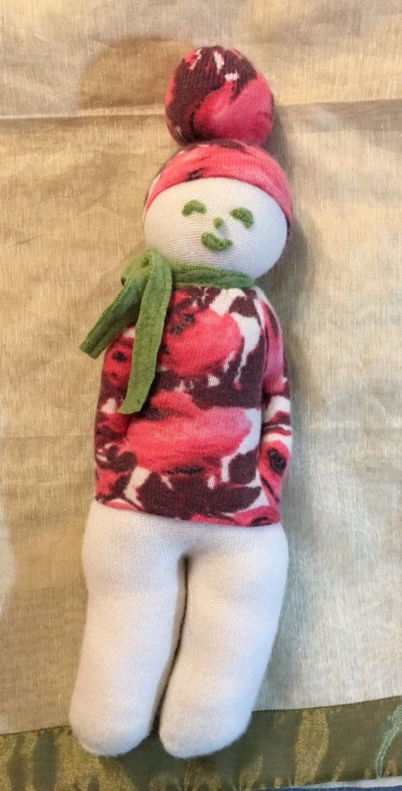 Cashmere Plush toy girl in pink green by mcleodhandcraftgifts