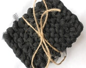 Three black kitchen scrubbies t shirt yarn and tulle