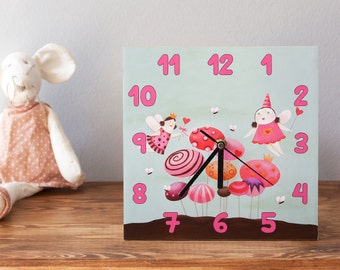 Fairy clock, Nursery clock, Baby girl decor nursery, Baby girl wall decor, Fairy decor, Wall clock battery, Nursery wall hanging