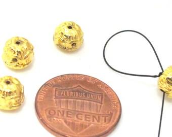 3 Guru beads -  Small size  3 hole Guru Bead gold tone plated lotus flower pod 6 mm x 7 mm - GB045