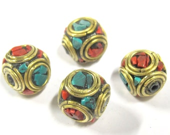 4 beads -  Large 13 -1 4 mm Tibetan nepal brass beads with turquoise coral inlay - BD799s