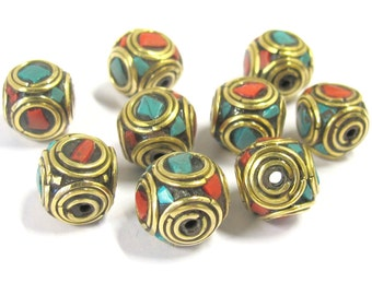 10 Beads -  Rondelle shape ethnic Nepal brass beads with turquoise coral inlay - BD817s