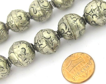 1 Bead-Tibetan silver plated floral repousse ethnic light weight bead from Nepal 16 mm -   BD852