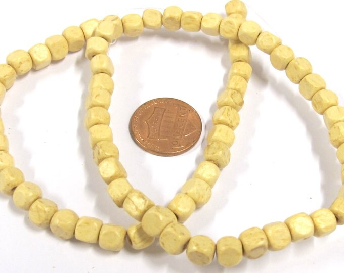 1 Strand - Ivory cream color wood cubes beads 6 mm - 16 inches - NB140