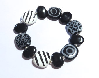 Beaded Bracelet, Kazuri Bangle, Fair Trade, Ceramic Jewelry, Black and White