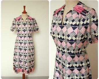 Geometric Print 1960's Dress