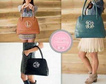 Monogrammed Handbag CAMEL, SEAGREEN, BLACK Large Leather- Like Purse