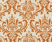 For Karrie TWO Laminated Cotton Oilcloth Tablecloths fitted with elastic burnt orange damask, gray and ivory damask, mini bins, splat mat
