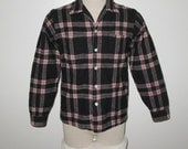 Vintage 1950s Black And Pink Shadow Plaid Wool Shirt By Game And Lake Original - Size S, M