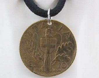 1939 Italian Coin Necklace, Mens Necklace, Womens Necklace, Coin Pendant, 10 Centesimi, Leather Cord, Vintage