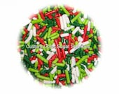 Edible CHRISTMAS JIMMIES Red, Green,Lime  and White Sprinkles Cookie Cakepop Cupcake Candy Confetti Decorations 2oz.