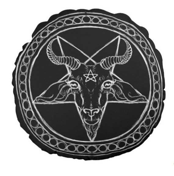 Baphomet Black Phillip Round throw pillow