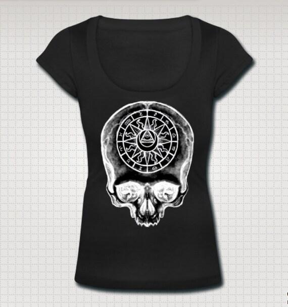 Astrology Skull Witch Scoop Neck Ladies Shirt