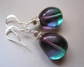 Modern Glass Earrings, Sterling Silver, Purple Earrings, Teal Earrings, Czech Glass, Mardi Gras