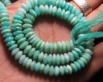 15 Inches - So Gorgeous High Quality Sky Blue Natural - AMZONITE - German Cut Faceted Rondell Beads Huge Size - 7 mm