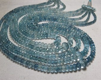 477 Ctw - 20 inches NECKLACE - Blue AQUAMARINE - AAAAA - High Quality Natural Blue color Micro Faceted Roundell Beads 3.5 - 10 mm 5 strand