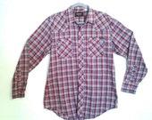 Vintage Western RED pearl snap SOFT THIN shirt Cowboy plaid Rockstar L Large Mens