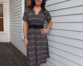 Vintage 50s Gray Dress Embroidered Cotton L M 40 Bust