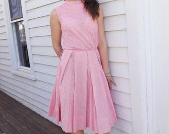 50s Pink Gingham Dress White Sleeveless XS 34 Bust 24 Waist