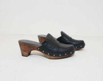 Vintage Black Leather Loafer Clogs, Wooden Heels Size 8.5