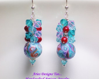 Tropical Paisley Sugared Earrings in Red, Aqua and Violet, Paisley Lampwork Earrings in Purple, Aqua and Red