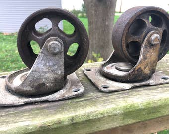 Pair of heavy Industrial Casters