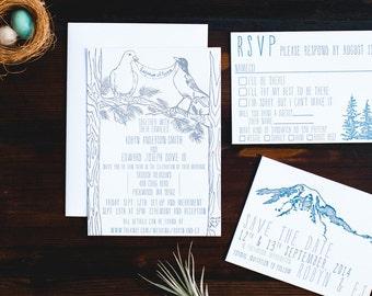 Mountain Retreat Letterpress Wedding Suite - sample pack