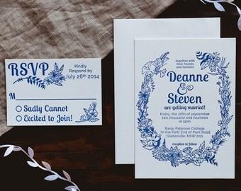 Floral Wreath -- Letterpress Wedding Invitations - sample pack